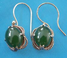 Antique / Vintage 14K Solid Yellow Gold Green Onyx  Earrings Jewelry