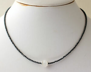 Hematite Necklace Precious Stone Rainbow Moonstone Necklace Faceted Necklace