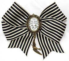 Noir Crème Rayures Bow Hair Clip Slide Ouiji Cameo Hirondelle Pendentif Goth Alice