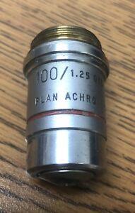 AO 100/1.25 PlanAchro Infinity Oil Cat. 1024 Microscope Objective Free Shipping