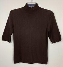 TSE Pure Cashmere Mock Neck Pullover Sweater Short Sleeve Women's Sz S