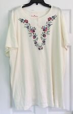 Woman Within Women's Plus Size 2X White Blouse Floral Button Down Cotton NWOT