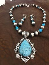 Native American Navajo Indian Jewelry SS Birds Eye Turquoise Necklace set