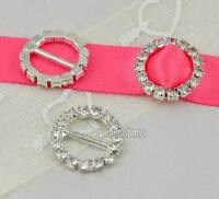 10/50 Round Crystal Rhinestone Buckle Invitation Wedding Diamante Ribbon Sliders