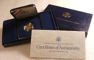 1987-W US Mint ~ CONSTITUTION ~ $5 GOLD 1/4 OZ. BRILLIANT PROOF ~ ORIG GOV PACK