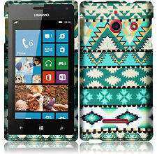 Huawei W1 H883G Rubberized HARD Protector Case Cover Mint Green Aztec Accessory