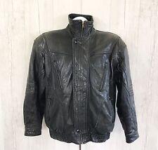 Milan Men's Genuine Leather Black Jacket sz 40 Full zip
