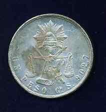 MEXICO REPUBLIC GUANAJUATO  1871-GoS  1 PESO SILVER COIN, AU/UNCIRCULATED