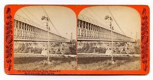 Old Suspension Bridge, Erie Railway, Niagara NY Vintage Stereoview Photo