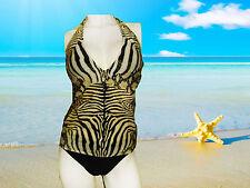 NWT GOTTEX animal print TANKINI W/ glitters BLACK BOTTOM SWIMSUIT SET size - 6