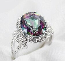 Genuine Mystic Topaz & Diamond Ring 4.40ct 925 Sterling Silver Size 7 List $457