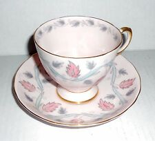 Vintage Tuscan England Bone China Tea Cup & Saucer Pink / Leaves