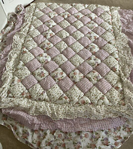 Simply Shabby Chic Cottage Rose Floral Stripe Full/Queen Comforter Quilt FLUFFY