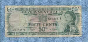 Fiji Paper 50  Fifty Cent  Banknote  U-6