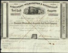 USA CINCINNATI WILMINGTON & ZANESVILLE RAILROAD 1854  bond/stock certificate