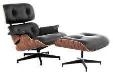 Lounge Chair and Ottoman Mid Century Modern Accent Chair Rosewood Black Leather