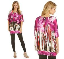 BRYN WALKER  Medium Jersey Tunic Top Shirt  Oversized Banded Fuchsia White