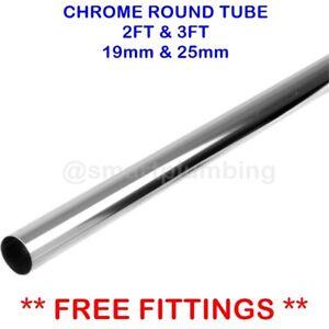 CHROME WARDROBE RAIL 2 FT LONG & 3 FT LONG ROD TUBE 19mm 25mm **FREE FITTINGS**