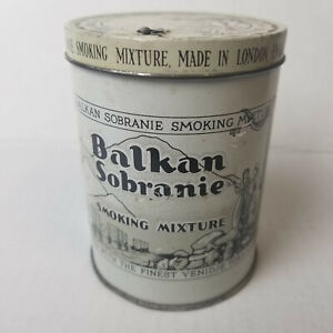 Vintage BALKAN SOBRANIE Smoking Mixture Tobacco Tin London England - 3.75in