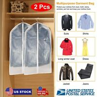 2x Suit Garment Bag Travel Bags Dress Jacket Storage for Hanging Clothes Cover