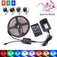 5M 3528 RGB 300 Led SMD Flexible Light Strip Lamp/Music IR Remote/Power Supply