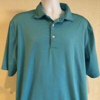 Peter Millar Summer Comfort XL Golf Polo Turquoise Blue White Stripe