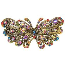 Vintage Style Multi-Colored Crystal Butterfly Gold Metal Hair Accessory Clip