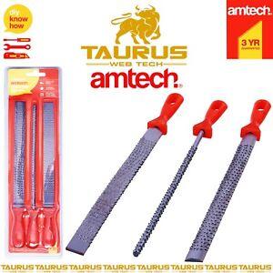 3 x AMTECH Steel Rasp File Set Carpenter Wood Tools Professional Workshop DIY UK
