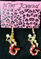 Red Enamel Cute Mermaid Pearl Crystal Betsey Johnson Women Stand Earrings