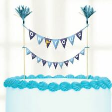 On your Christening Day Blue Cake Picks 23cmx24cm Baby Party Topper Decorations
