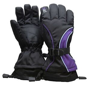 Head Junior Jr Black Purple Blue Insulated Ski Snowboard Winter Gloves M/6-10