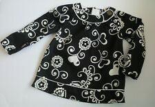Maggie & Zoe Baby Girls Black White Heart Floral Pattern Smock Top Size 24M NWT