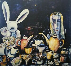 """CHARLES BLACKMAN """"The Tea Party"""" LARGE Signed Limited Edition Print 100 x 105cm"""