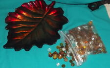 Pier 1 Leaf glass tray with gem stones and acorns