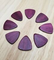 Set of 8 Purple Heart Wood Guitar Picks - Custom Guitar Picks, Ukulele Picks