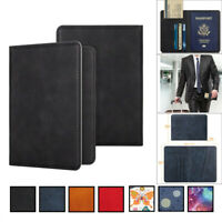 Leather Passport Case Holder RFID Blocking Travel ID Credit Card Wallet Cover l