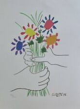 PABLO PICASSO Le Bouquet SIGNED HAND NUMBERED  LITHOGRAPH HAND FLOWERS