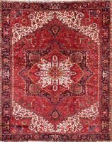 One-of-a-Kind Vegetable Dye Geometric Heriz Serapi Area Rug Oriental Wool 10x12