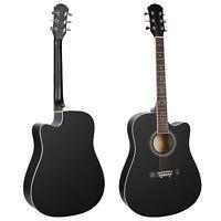 41in Full Size Beginner Acoustic Cutaway Guitar Tuner Sunburst Strap Case Black