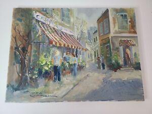 "Canvas Painting People in Street Original Signed By Elmar Koppel Size 16""x12"""