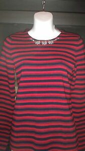NWT Genuine The Limited Red/Blue Striped Sweater With Jeweled Neckline Sm