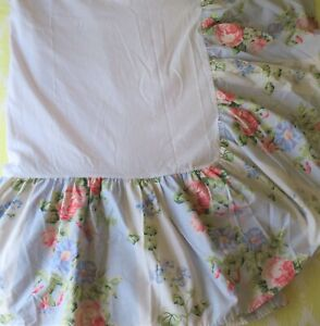 Laura Ashley Cal King Bed Skirt Ruffle Cottage Blue Pink Geranium Rose New Vtg