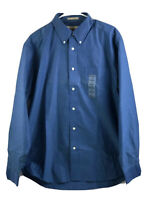 Eddie Bauer Button Down Dress Shirt Mens Medium Blue Long Sleeve Cotton BrandNew