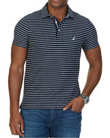 NEW MENS NAUTICA PERFORMANCE SLIM FIT STRIPED BLUE NAVY PIQUE DECK POLO SHIRT S