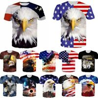 Bald Eagle American US Flag 3D Print Mens Women Casual Short Sleeve T-shirt Tops