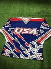 Vintage Team USA Roller Hockey Stars Stripes Mesh All Over Print Jersey Medium