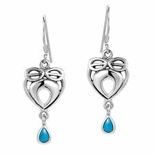 Infinite Love Celtic Heart Turquoise Stone Inlaid .925 Silver Earrings
