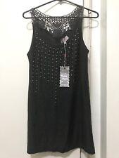 NWT Pretty Angel Clothing Dark Gray Sleeveless Long Top Tunic with Gems LARGE