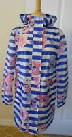 Joules Women's Golightly Waterproof Packable Rain Jacket w/Hood~Stripes/Floral~S