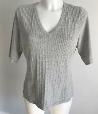 Rag & Bone Heathered Gray Knit 1/2 S/S V Neck Top Shirt Sz L Flawed